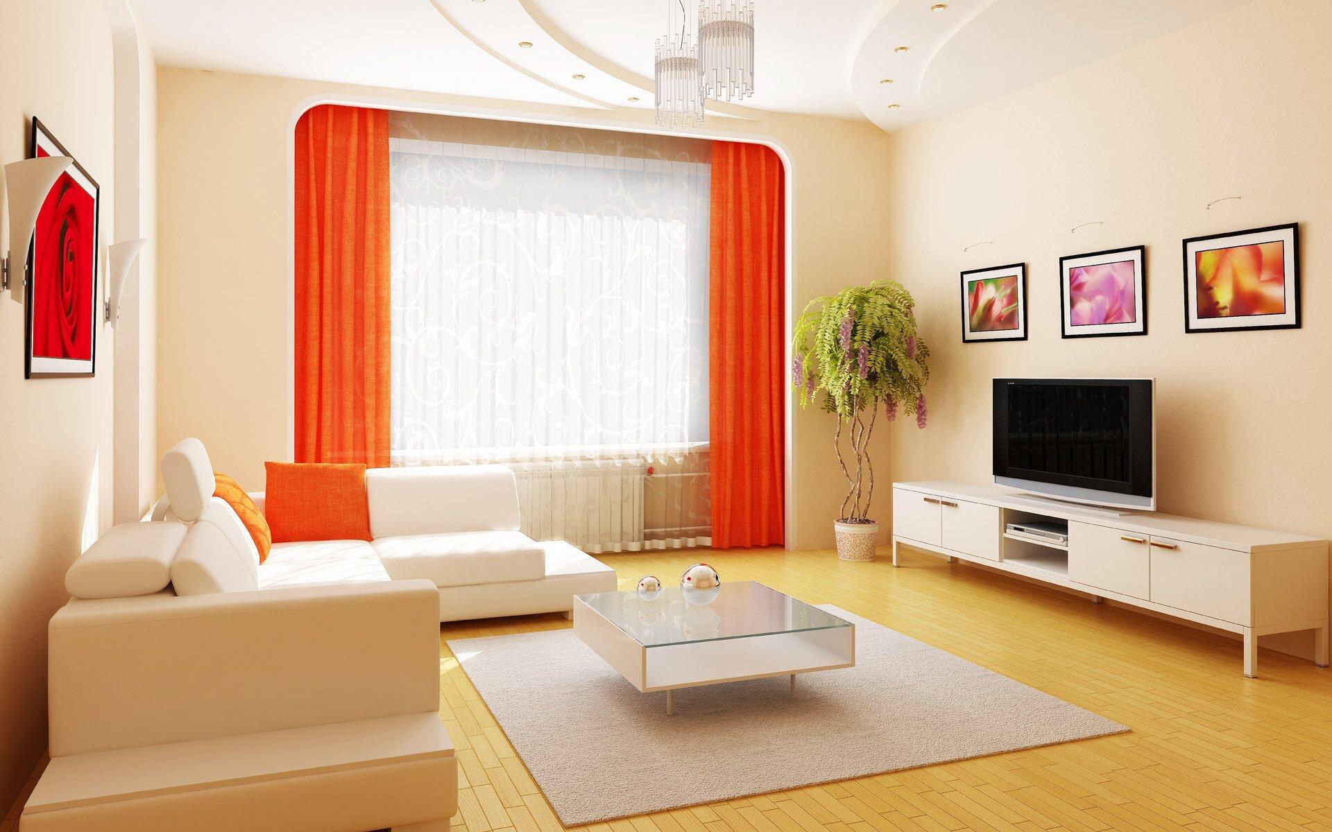 Интерьер гостиной в оранжевых